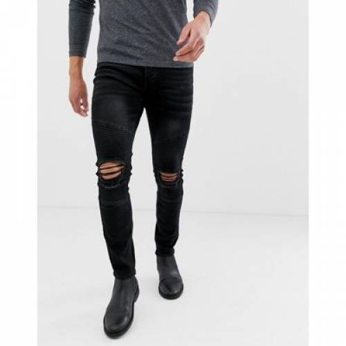 黒 ブラック メンズファッション ズボン パンツ 【 BLACK BOOHOOMAN SKINNY BIKER JEANS IN WASHED 】