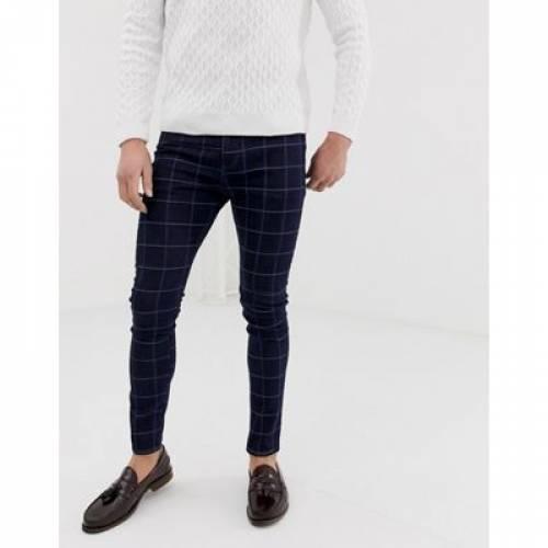 青 ブルー メンズファッション ズボン パンツ 【 BLUE ASOS DESIGN SUPER SKINNY SMART JEAN IN CHECK 】