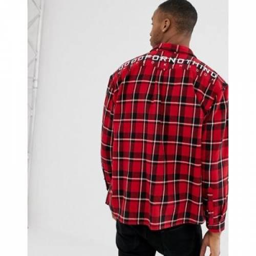 【海外限定】赤 レッド ロゴ メンズファッション トップス カジュアルシャツ 【 RED GOOD FOR NOTHING OVERSIZED CHECK SHIRT IN WITH BACK LOGO 】