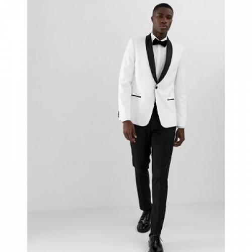 ブレーザー ブレイザー 白 ホワイト 黒 ブラック メンズファッション コート ジャケット 【 WHITE BLACK ASOS DESIGN SKINNY TUXEDO BLAZER IN WITH LAPELS 】