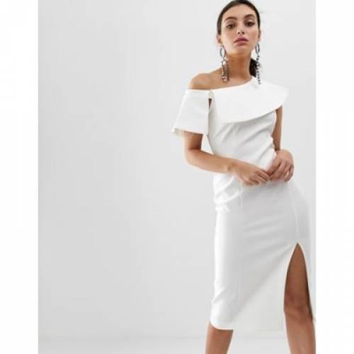 ドレス 白 ホワイト レディースファッション ワンピース 【 WHITE RIVER ISLAND MIDI DRESS WITH SIDE SPLIT IN 】