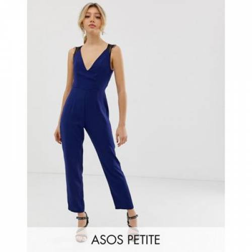 レディースファッション オールインワン サロペット 【 ASOS DESIGN PETITE LACE TRIM PEG LEG JUMPSUIT 】
