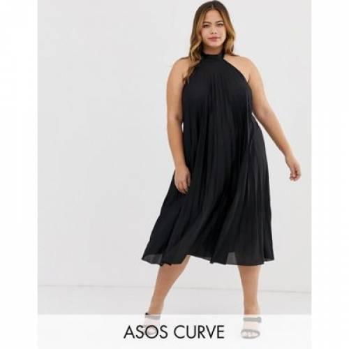 ドレス レディースファッション ワンピース 【 ASOS DESIGN CURVE BACKLESS HALTER PLEATED MIDI DRESS 】