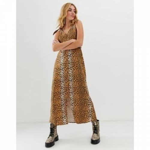ドレス レディースファッション ワンピース 【 ASOS DESIGN TIE BACK LINEN MAXI DRESS IN LEOPARD PRINT 】