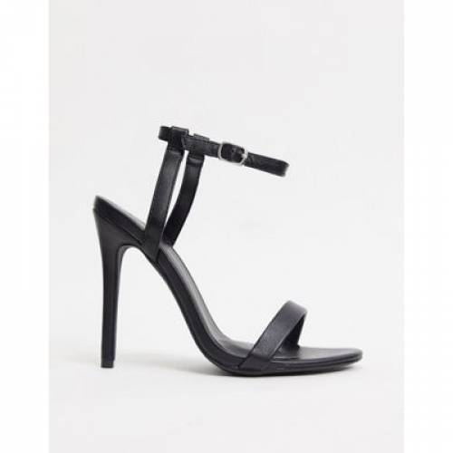 黒 ブラック 【 BLACK MISSGUIDED BARELY THERE HEELED SANDALS IN 】