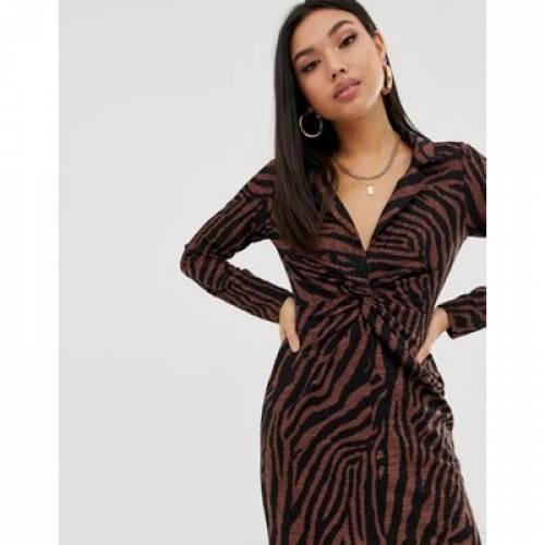 ドレス レディースファッション ワンピース 【 ASOS DESIGN MINI CRINKLE TWIST FRONT SHIRT DRESS IN ZEBRA 】