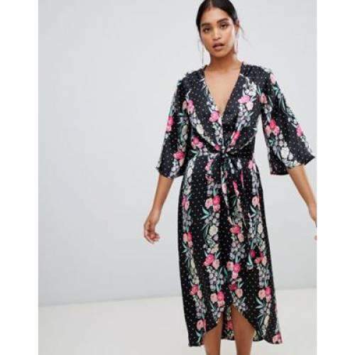 ラップ ドレス レディースファッション ワンピース 【 WRAP LIQUORISH FLORAL AND POLKA DOT PRINT MAXI DRESS 】