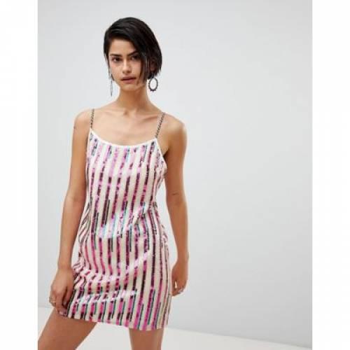 ドレス レディースファッション ワンピース 【 RAGYARD STRIPED SEQUIN MINI DRESS 】