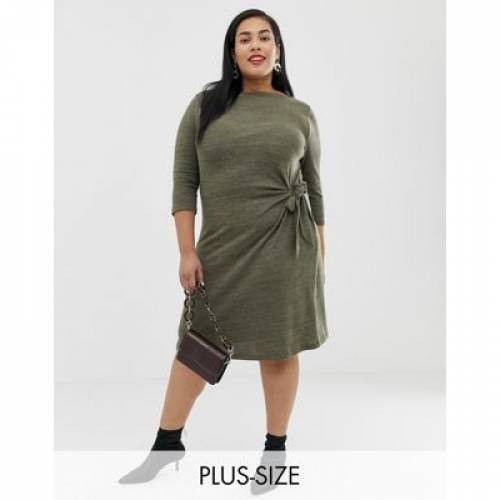 ドレス カーキ レディースファッション ワンピース 【 JUNAROSE TIE WAIST DETAIL DRESS IN KHAKI 】