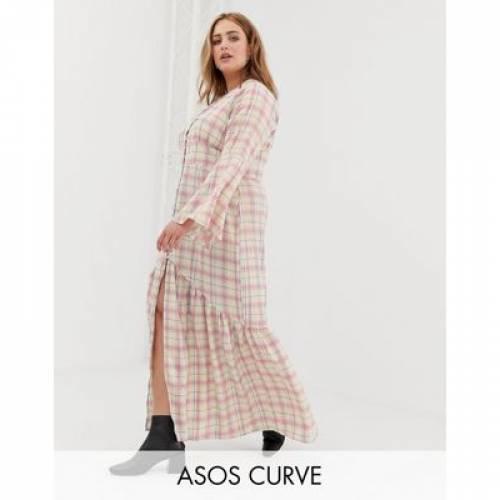 ドレス レディースファッション ワンピース 【 GLAMOROUS CURVE MAXI TEA DRESS WITH BUTTON FRONT IN GRID CHECK 】