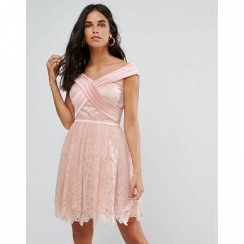 ドレス レディースファッション ワンピース 【 FOREVER UNIQUE BARDOT CROSS OVER MINI LACE SKATER DRESS 】