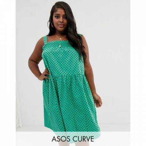 レディースファッション ワンピース 【 ASOS DESIGN CURVE SHIRRED TRAPEZE MIDI COTTON SUNDRESS IN SPOT 】