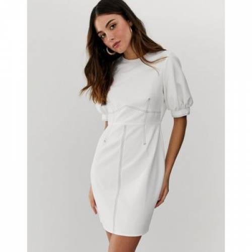 ドレス レディースファッション ワンピース 【 ASOS DESIGN CONTRAST STITCH MINI DRESS WITH PUFF SLEEVES 】
