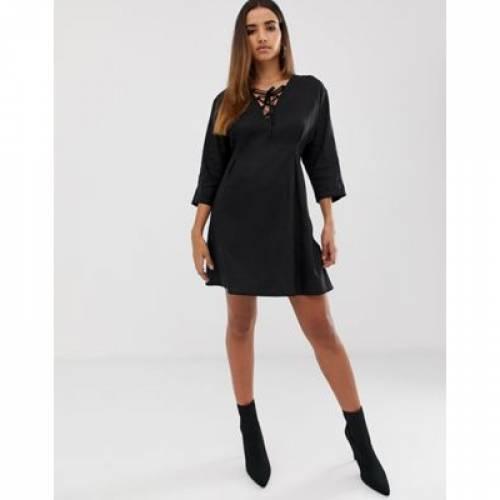 ドレス レディースファッション ワンピース 【 ASOS DESIGN MINI DRESS IN LINEN WITH LACE UP 】