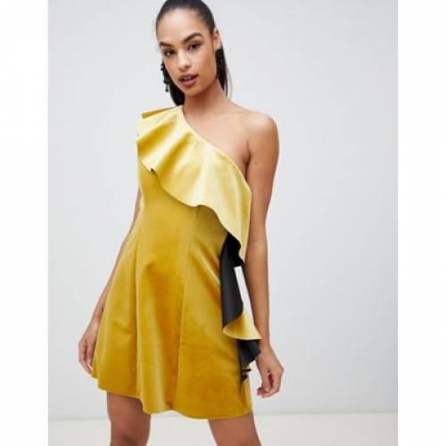 ドレス レディースファッション ワンピース 【 ASOS DESIGN VELVET ONE SHOULDER RUFFLE MINI DRESS 】