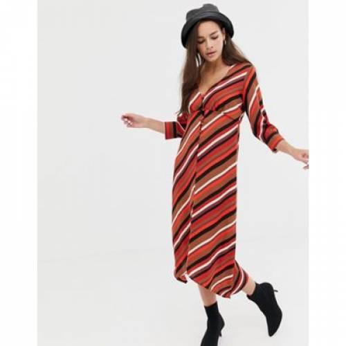 ストライプ ドレス レディースファッション ワンピース 【 STRIPE BERSHKA BUTTON FRONT SCARF DRESS IN MULTI 】