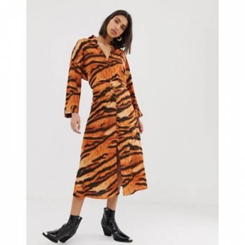 橙 オレンジ レディースファッション ボトムス スカート 【 ORANGE MANGO TIGER SKIRT WITH BUTTON FRONT DETAIL IN 】