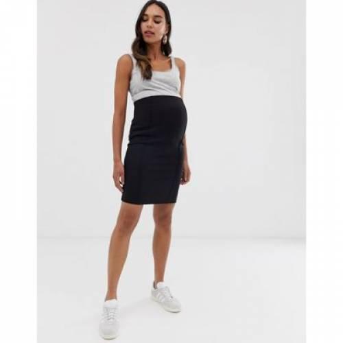 黒 ブラック レディースファッション ボトムス スカート 【 BLACK MAMALICIOUS MATERNITY ORGANIC MINI BODYCON SKIRT IN 】