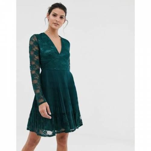 ドレス レディースファッション ワンピース 【 ASOS DESIGN PLEATED LACE INSERT MINI SKATER DRESS 】
