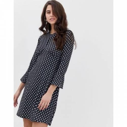スリーブ ドレス レディースファッション ワンピース 【 SLEEVE CLOSET SPLIT NECK FLUTED TUNIC DRESS 】
