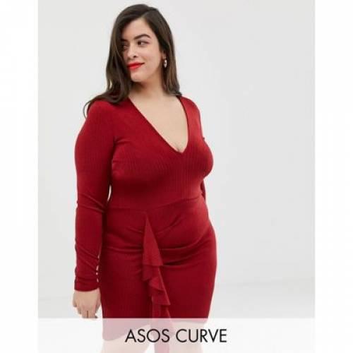 ドレス レディースファッション ワンピース 【 ASOS DESIGN CURVE PLUNGE MINI DRESS WITH RUFFLE DETAIL 】