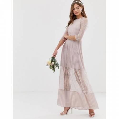 ドレス レディースファッション ワンピース 【 TFNC BRIDESMAID EXCLUSIVE PLEATED MAXI DRESS WITH LACE INSERT IN TAUPE 】