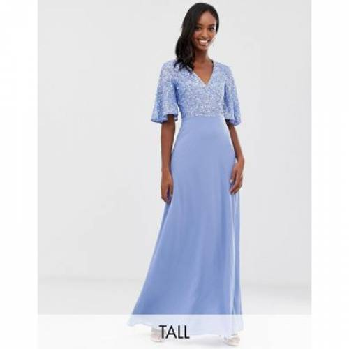 ドレス スリーブ レディースファッション ワンピース 【 SLEEVE MAYA TALL SEQUIN TOP MAXI DRESS WITH FLUTTER DETAIL IN BLUEBELL 】