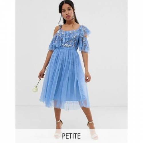 ストラップ ドレス レディースファッション ボトムス スカート 【 MAYA PETITE CAMI STRAP SEQUIN TOP TULLE DETAIL MIDI DRESS WITH RUFFLE SKIRT IN BLUEBELL 】