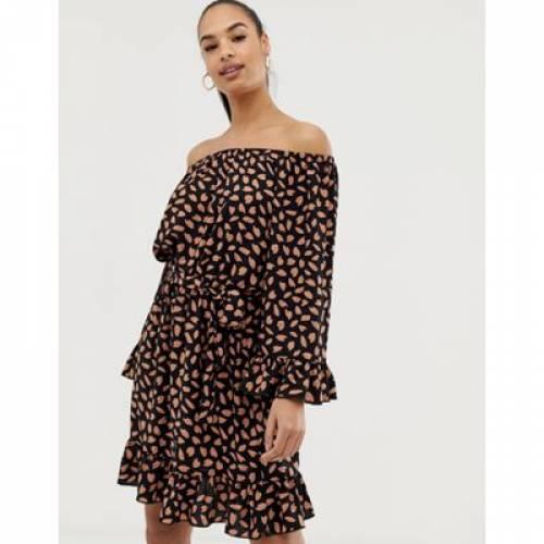 クラブ ドレス レディースファッション ワンピース 【 CLUB L BARDOT DETAIL SHIFT DRESS 】