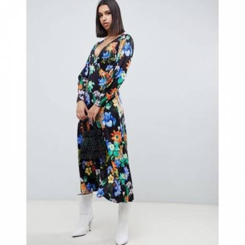 スリーブ ドレス レディースファッション ワンピース 【 SLEEVE ASOS DESIGN LONG V NECK STATEMENT MAXI DRESS IN TIGER PRINT 】