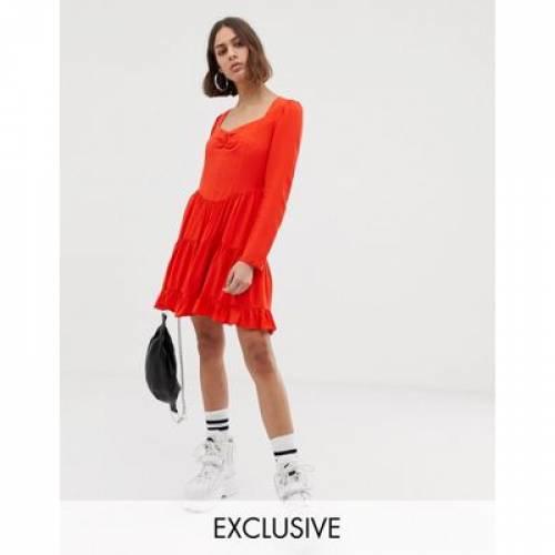 スリーブ ドレス レディースファッション ワンピース 【 SLEEVE COLLUSION TIERED LONG MINI DRESS 】