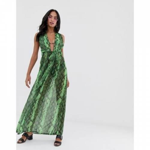 ドレス 緑 グリーン レディースファッション ワンピース 【 GREEN PRETTYLITTLETHING HALTERNECK MAXI BEACH DRESS IN NEON SNAKE 】