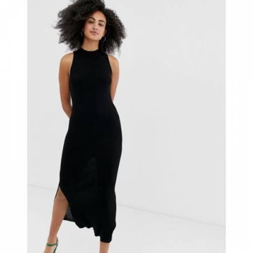 ドレス 黒 ブラック レディースファッション ワンピース 【 BLACK RIVER ISLAND BODYCON DRESS WITH SIDE SPLIT IN 】