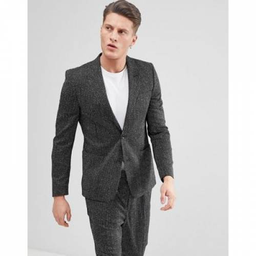 黒 ブラック 白 ホワイト メンズファッション スーツ セットアップ 【 BLACK WHITE ASOS SKINNY SUIT JACKET IN AND VERTICAL STITCH 】 ※セットアップではありません
