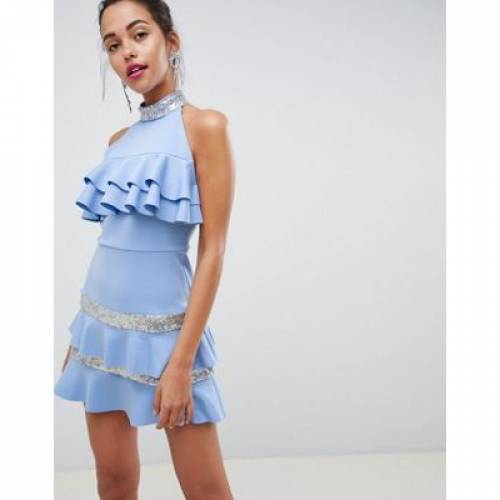 ドレス レディースファッション ワンピース 【 ASOS DESIGN SEQUIN COLLAR FRILL MINI DRESS 】