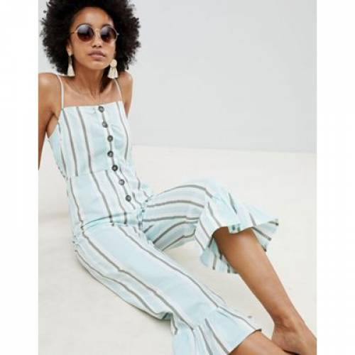 ストライプ レディースファッション オールインワン サロペット 【 STRIPE ASOS DESIGN COTTON FRILL HEM JUMPSUIT WITH SQUARE NECK AND BUTTON DETAIL IN VARIATED 】
