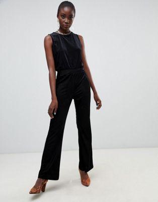 レディースファッション オールインワン サロペット 【 PIECES VELVET RIBBED WIDE LEG JUMPSUIT 】