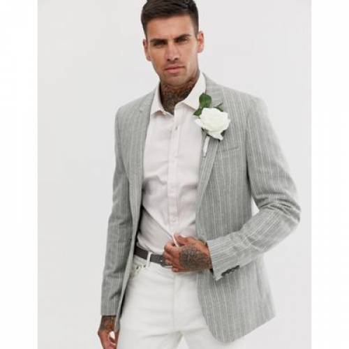 ブレーザー ブレイザー 緑 グリーン ストライプ メンズファッション コート ジャケット 【 GREEN STRIPE ASOS DESIGN WEDDING SKINNY BLAZER IN WOOL MIX WITH 】