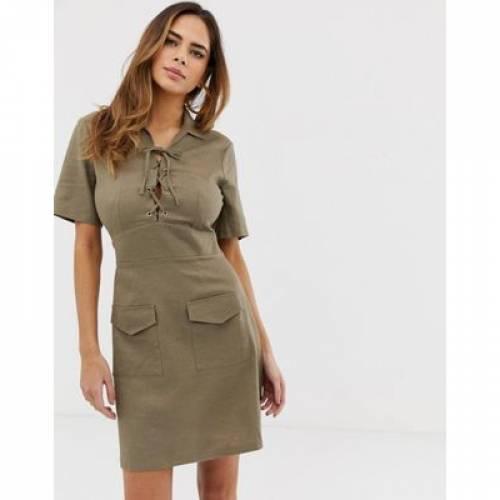 ドレス レディースファッション ワンピース 【 ASOS DESIGN LACE UP UTILITY MINI SHIRT DRESS 】