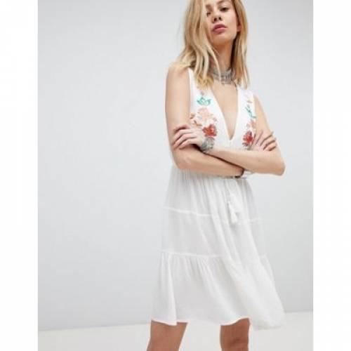 スカイ ドレス レディースファッション ワンピース 【 KISS THE SKY EMBROIDERED BOHO DRESS WITH PLUNGE FRONT 】
