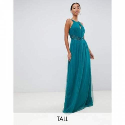ドレス 緑 グリーン レディースファッション ワンピース 【 GREEN LITTLE MISTRESS TALL PLUNGE FRONT EMBELLISHED MAXI DRESS IN 】