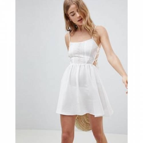 ドレス レディースファッション ワンピース 【 ASOS DESIGN BRODERIE TIE SIDE BEACH DRESS 】