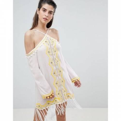 ドレス レディースファッション ワンピース 【 RIVER ISLAND EMBELLISHED TASSEL HALTER NECK BEACH DRESS 】