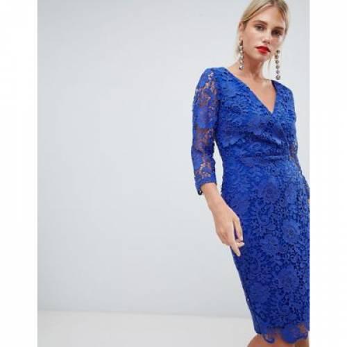 ラップ ドレス 青 ブルー レディースファッション ワンピース 【 WRAP BLUE PAPER DOLLS CROCHET LACE FRONT PENCIL DRESS IN BRIGHT 】