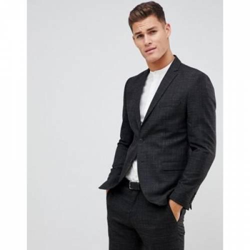 黒 ブラック スリム メンズファッション コート ジャケット 【 BLACK SLIM SELECTED HOMME FLECK SUIT JACKET IN FIT 】 ※セットアップではありません