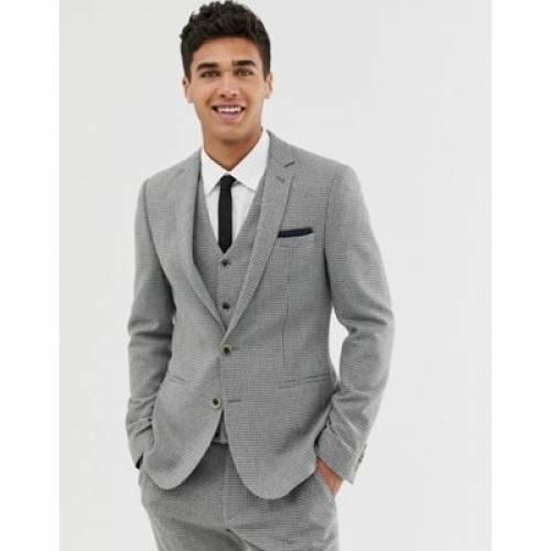 GRAY灰色 グレイ メンズファッション コート ジャケット 【 GREY ASOS DESIGN SUPER SKINNY SUIT JACKET WITH HOUNDSTOOTH 】 ※セットアップではありません