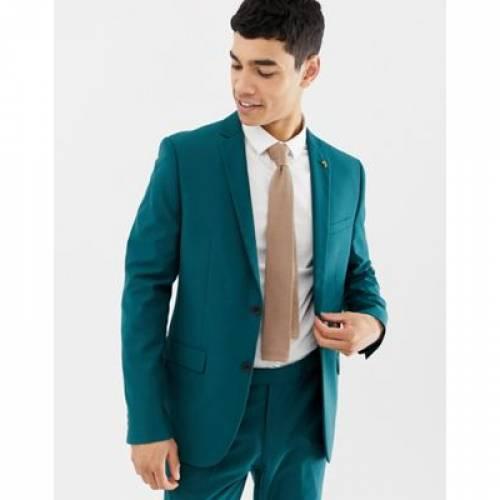 メンズファッション コート ジャケット 【 FARAH HENDERSON SKINNY SUIT JACKET IN TEAL 】 ※セットアップではありません