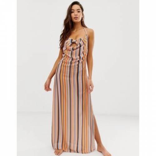 ドレス ストライプ レディースファッション ワンピース 【 STRIPE PRETTYLITTLETHING BEACH MAXI DRESS WITH SIDE SPLIT IN 】