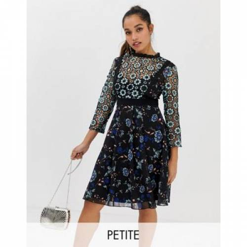 ドレス 黒 ブラック レディースファッション ワンピース 【 BLACK LITTLE MISTRESS PETITE ALL OVER FLORAL LACE MIDI SKATER DRESS IN MULTI 】