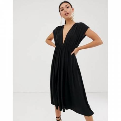 ドレス レディースファッション ワンピース 【 ASOS DESIGN PLUNGE MIDI SKATER DRESS 】